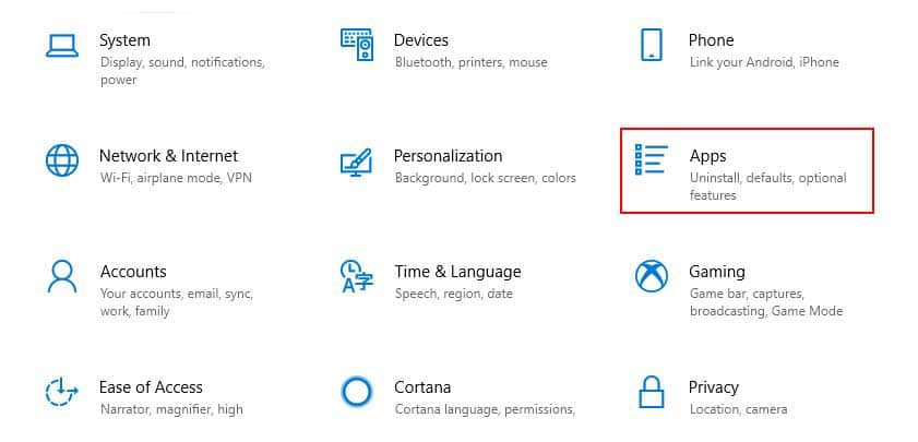 Apps Setting Windows 10