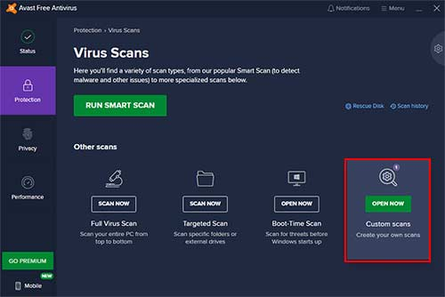 Avast Custom Scan For Schedule