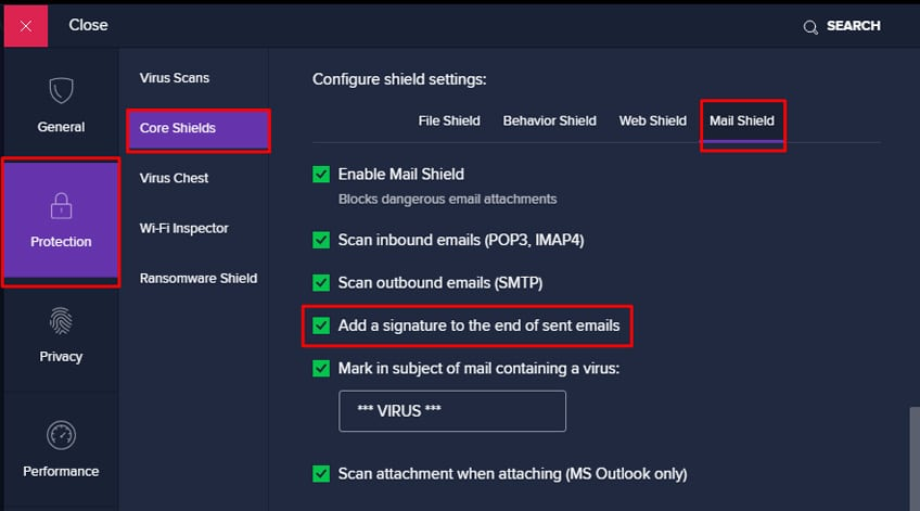 Avast Disable Email Signature