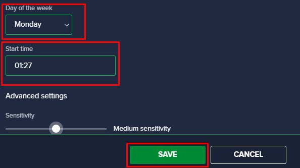 Avast Schedule Settings