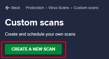 Create New Scan Avast