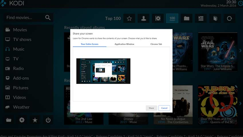 Kodi Share Screen