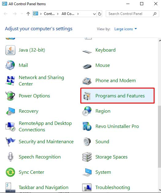 Program And Feature Setting From Control Panel