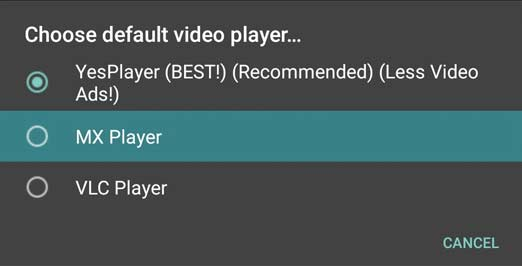 Select Your Default Video Player