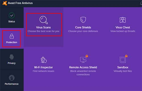 Virus Scan Avast Setting