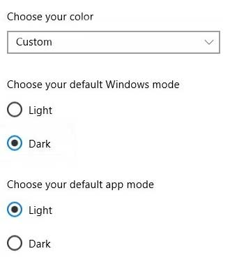 Windows 10 Default App Mode
