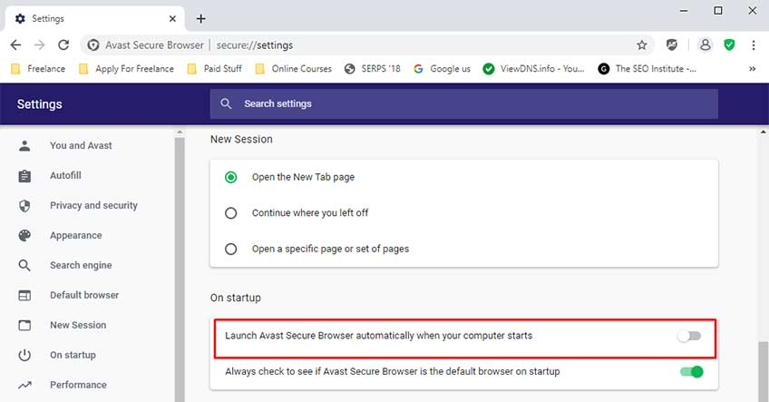 Disable Avast Browser From Browser Settings