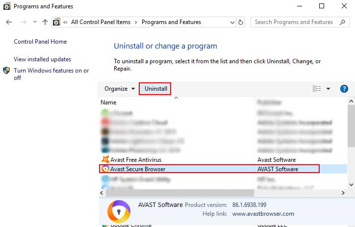 Uninstall Avast Browser From The Control Panel