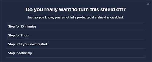 avast web shield turn off