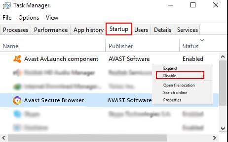 Disable Avast Browser Through Task Manager