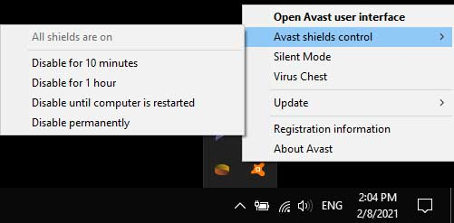 Disable Avast Shield