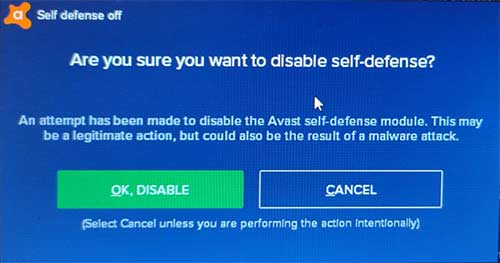 Disable Self Defense Avast