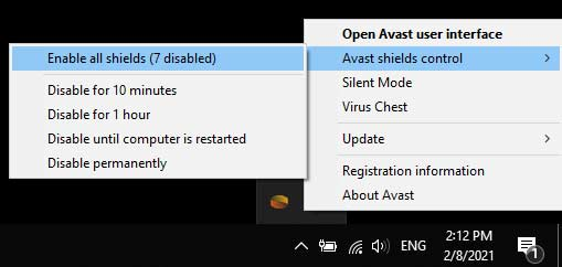 Enable All Avast Shield