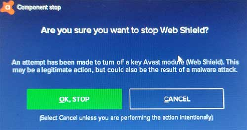 stop avast web shield