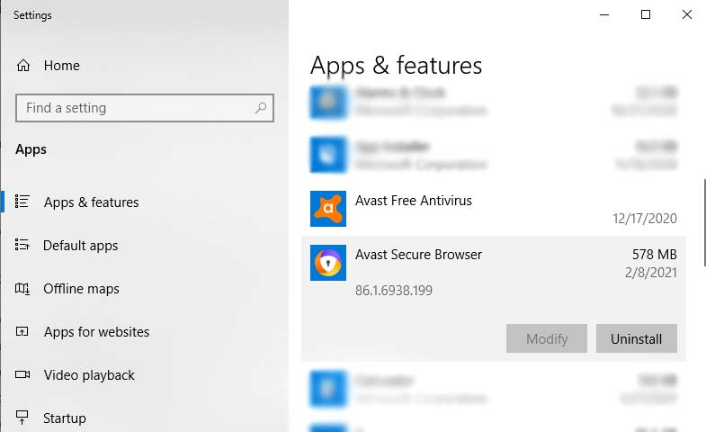 Uninstall Avast Browser From Apps And Features